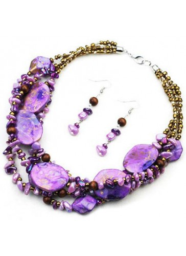 N3276P Resin Color Stones Beads Multilined Necklace