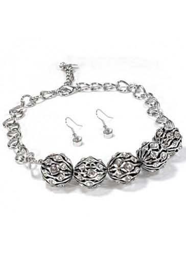 N3241 Rhodium Plating Metal Bead Chain Necklace