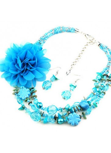 N3021B Charm Beaded Flower Necklace