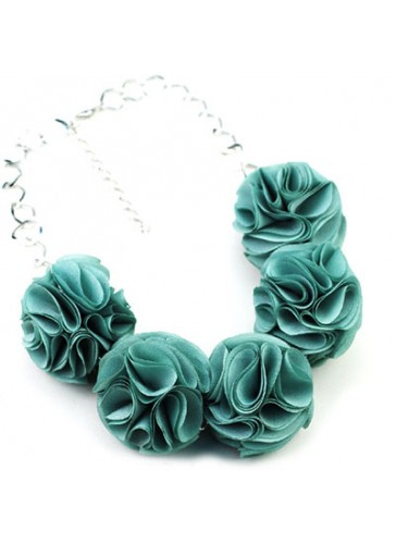N3352GN Celebrity Style Fabric Puff Flower Ball Necklaces