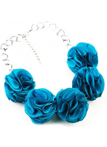 N3352BL Celebrity Style Fabric Puff Flower Ball Necklaces